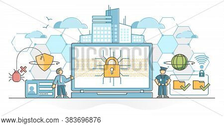 Cyber Security As Digital Data Protection And Safe Defense Outline Concept. User Information Privacy