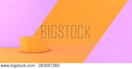 Orange And Purple Pastel 3d Mockup Or Background. Blank Minimal Abstract Geometric Stage Or Platform