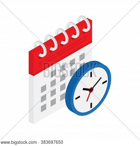 Calendar And Clock In Isometric. The Concept Of Planning Cases, Important Events And Dates.
