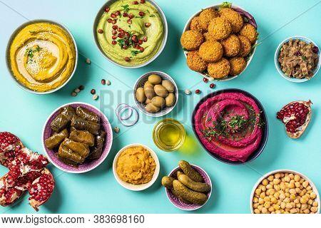 Traditional Middle Eastern Assorted Meze: Hummus, Pita, Olives, Pistachios, Dolma, Falafel Balls, Pi
