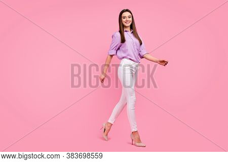Full Length Body Size View Of Her She Nice-looking Attractive Lovely Pretty Charming Fashionable Che
