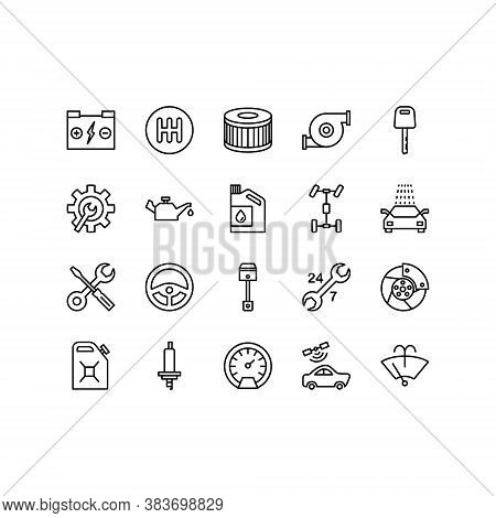 Car Repair Service Line Icons Set Of Mechanic, Computer Diagnostics, Tools, Wheel, Battery, Transmis