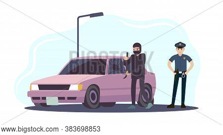 Theft Of Car. Thieves In Black Mask Take Apart Car And Policeman In Uniform, Criminal Steals Auto Cr