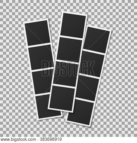 Photo Booth Cards. Realistic Photography Square Empty Vertical Frames Isolated On Transparent Backgr
