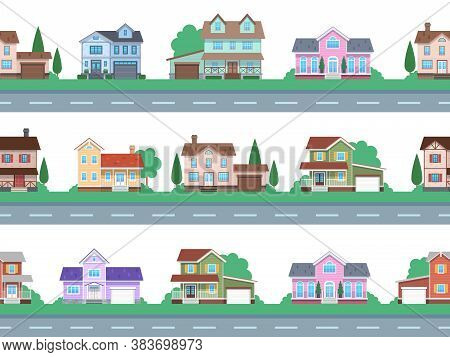 Houses On Road. Home Facades, Cottage Or Suburban Townhouse, Front View Family House With Garage And