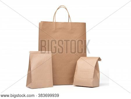 Group Of Lunch Paper Bag And Shopping Paper Bags Isolated On A White Background