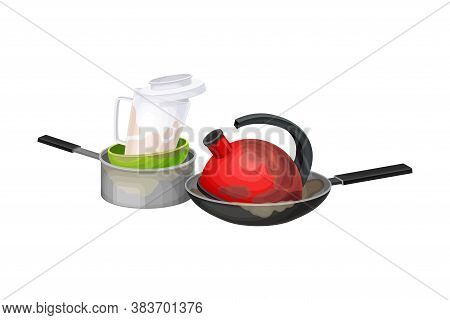 Stack Of Dirty Dishes And Utensils With Kettle And Saucepan Vector Illustration