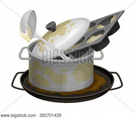 Stack Of Dirty Dishes And Utensils With Ladle And Saucepan Vector Illustration