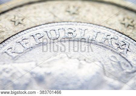 Two Euro Coin Macro Detail With Republika Word. Latvian 2 Euro Coin Macro View. European Currency Ex
