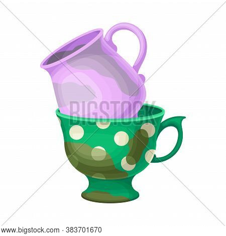 Stack Of Dirty Dishes And Utensils With Cups Vector Illustration