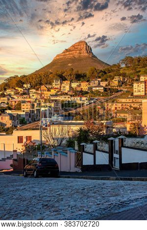 south Africa, Cape town, city streets in residential area at sunset