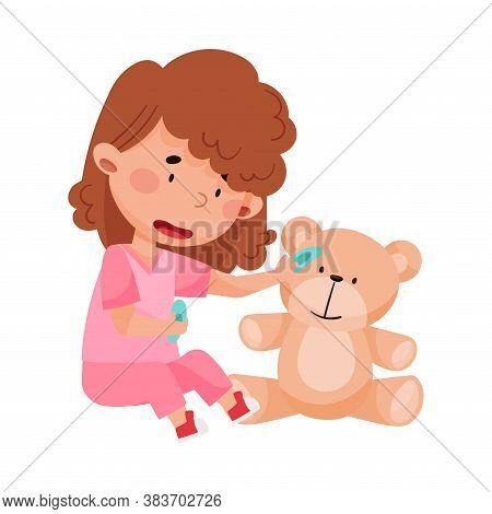 Careful Little Girl In Medical Wear Treating Teddy Bear Vector Illustration