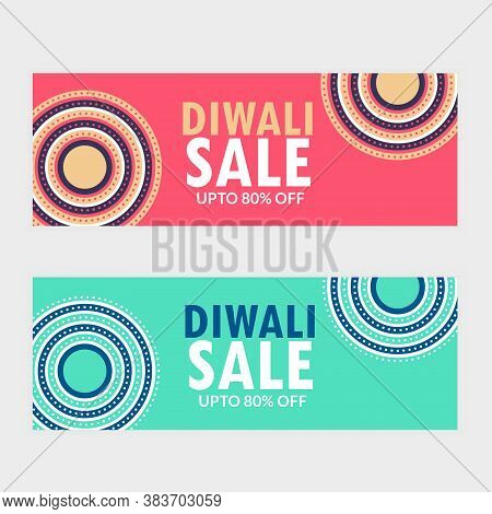 Two Diwali Sale Banner Vouchers For Your Brand Vector Design Illustration
