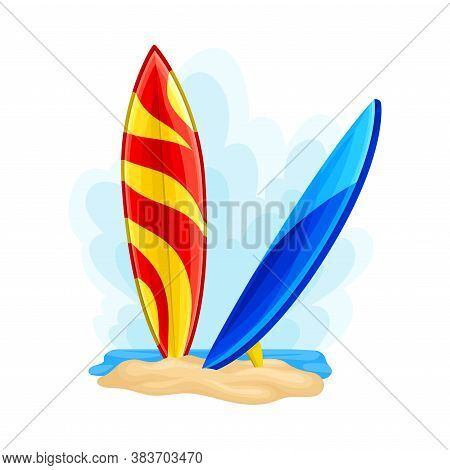 Surf Boards In Sand On Seashore As Ecuador Attribute Vector Illustration