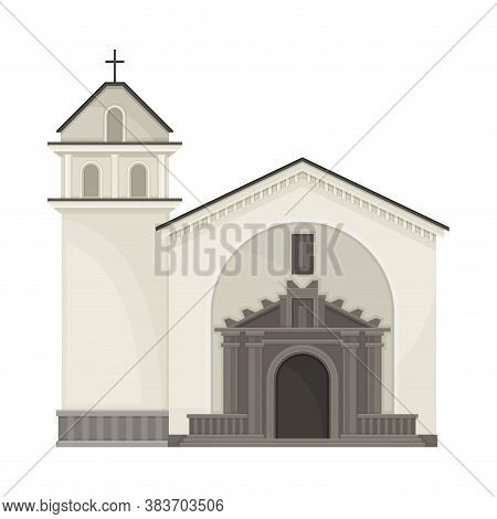 Local Church Building As Ecuador Attribute Vector Illustration