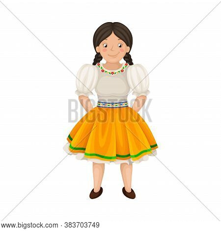 Woman Dressed In National Ecuador Clothing Vector Illustration