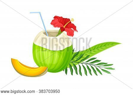 Coconut Cocktail With Straw And Palm Leaves As Ecuadorian Summer Refreshment Vector Illustration