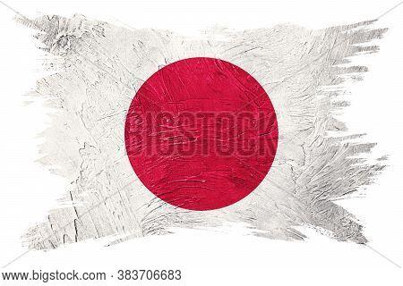 Grunge Japan Flag. Japan Flag With Grunge Texture. Brush Stroke.
