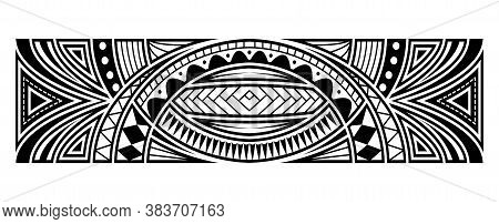 Polynesian Tattoo Pattern Maori, Samoa Ornament Border, Ethic Tribal Template Vector.