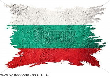 Grunge Bulgaria Flag. Bulgarian Flag With Grunge Texture. Brush Stroke.