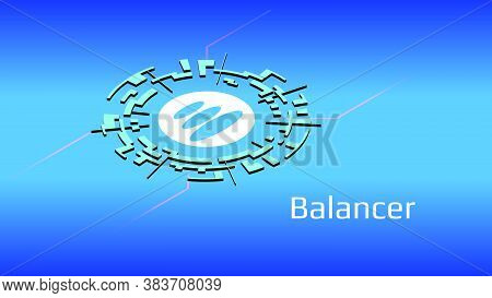 Balancer Bal Isometric Token Symbol Of The Defi Project In Digital Circle On Blue Background. Crypto