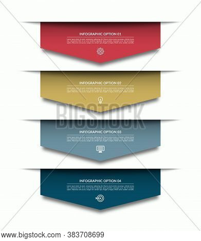 Infographic Template With 4 Downward Colorful Paper Arrows. Can Be Used For Diagram, Chart, Web Desi