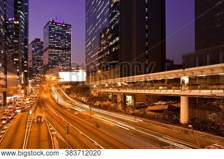 Connaught Road At Night In Sheung Wan District, Hong Kong Island, Hong Kong, China, Asia