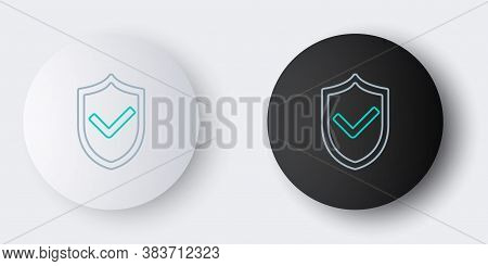 Line Shield With Check Mark Icon Isolated On Grey Background. Protection Symbol. Security Check Icon