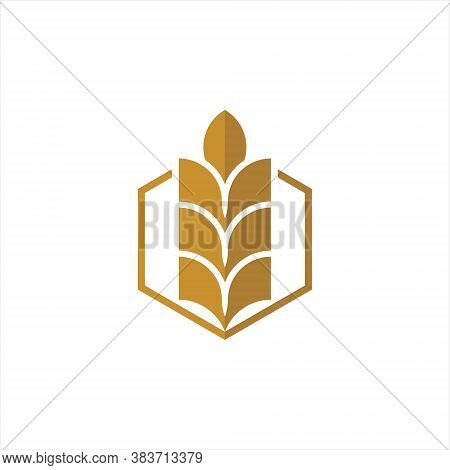 Growth Wheat Logo Simple Gold Vector Illustration Icon For Design Template