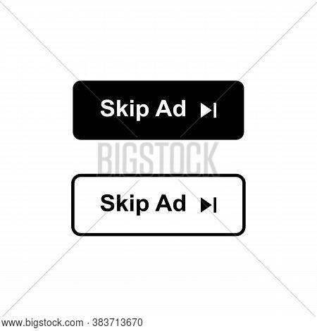 Skip Ad Button In Two Styles. Skip Ad Icon Isolated. Vector Eps10