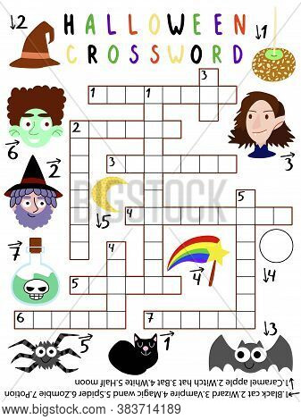 Halloween Crossword For Kids With Answer Vector. Halloween Crossword With Black Cat, Wizard, Vampire