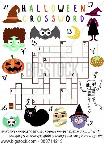 Funny Educational Halloween Crossword Vector Worksheet. Children Halloween Crossword With Black Cat,