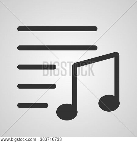 Musical Note With Lines. Music Icon In Trendy Flat Style Isolated On Grey Background. Note Symbol