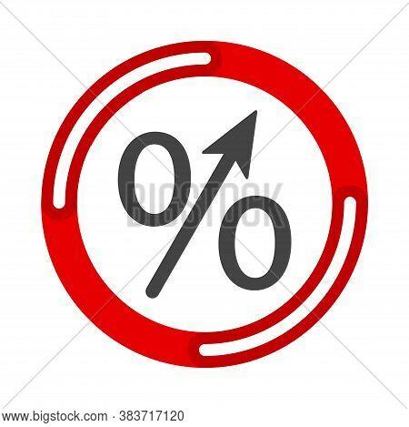 Percent Up Arrow Icon, Speedy Economic Growth Concept. Vector Illustration Flat Design Ui And Ux.