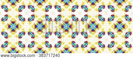 Geometric Rug Pattern. Repeat Tie Dye Illustration. Ikat Islamic Motif. Yellow, Blue And White Seaml