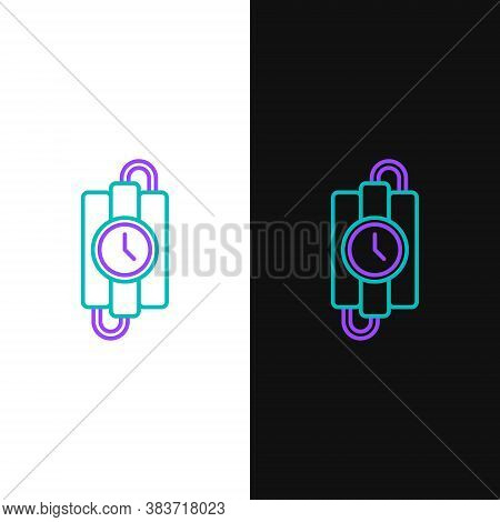 Line Detonate Dynamite Bomb Stick And Timer Clock Icon Isolated On White And Black Background. Time