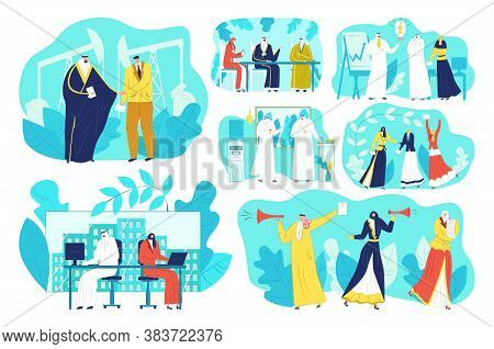 Arab Business People Meeting At Office Vector Illustrations Set. Muslim Groups Of Arabic Businessman