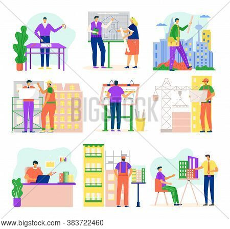Architects And Construction Engineers Working On Architecture Project Vector Illustration Set Isolat
