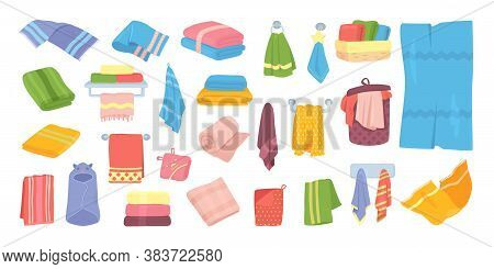 Bath Fabric Towels Vector Set Of Illustrations. Cotton Cloth Towel For Bathroom, Kitchen, Hotel For