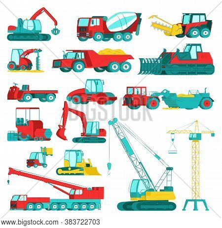 Construction Equipment, Heavy Mining Machinery Set, Vector Illustration. Excavator, Tractor, Dump Tr