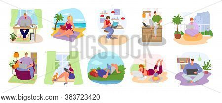 Freelance Workplace Set Of Vector Illustration. Freelancer Working At Home Office Computer. Remote W