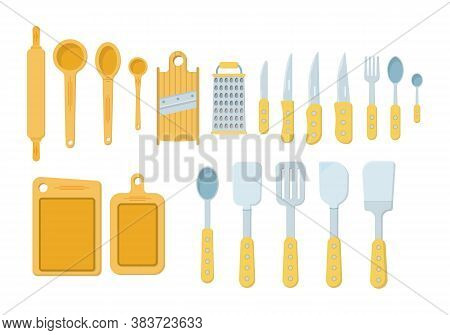 Set Of Kitchen Tools Isolated On A White Background. Icons In Flat Style. Lots Of Wooden Kitchen Too