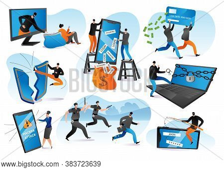 Hacker Attack Vector Illustrations Set. Cyber Crime, Thief Stealing Personal Information From Intern
