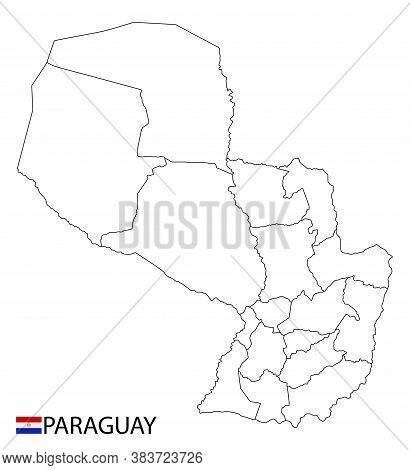 Paraguay Map, Black And White Detailed Outline Regions Of The Country.