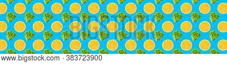 Pattern Of Fresh Salad And Fruit Isolated On Creative Colored Texture