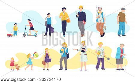 Man And Woman Ages, Child, Teenager, Young, Adult, Old Vector Illustrations. People Generations At D
