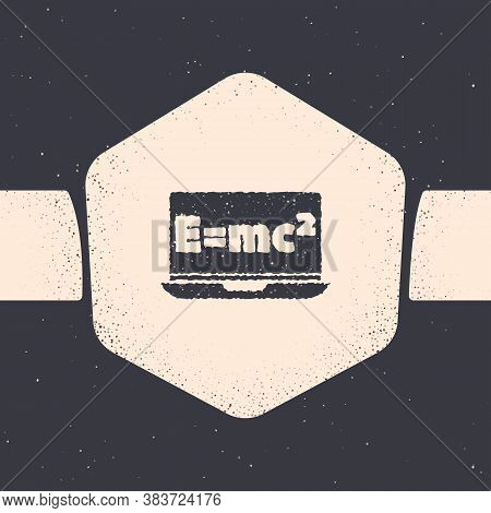 Grunge Math System Of Equation Solution On Laptop Icon Isolated On Grey Background. E Equals Mc Squa