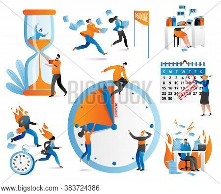 Time Management Icons Human Characters, Checkboxes, Clock, Deadline Set Of Vector Ilustration. Distr