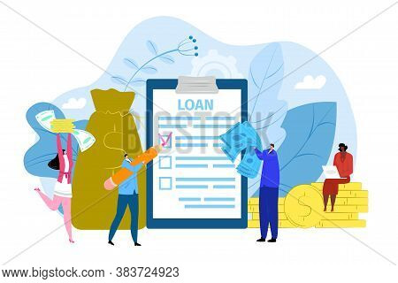 Bank Loan Contract Concept, Vector Illustration. Agreement On Paper Document, Tiny People With Banki
