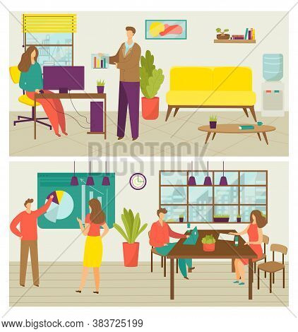 Business Creative Teamwork Banners Set Of Vector Illustration. People Working In Team In Office, Cre
